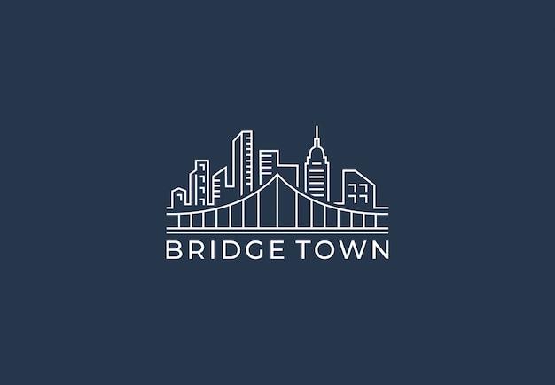 Logo design bridge town in stile linea mono