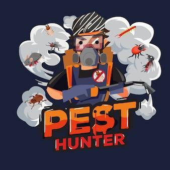 Logo design cacciatore di parassiti. tecnici di servizio di controllo dei parassiti - illustrazione