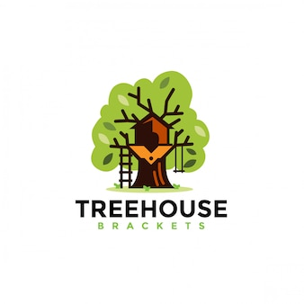 Logo design casa sull'albero