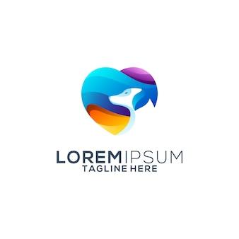 Logo design colorato amore cane