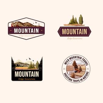 Logo design con paesaggio in autunno
