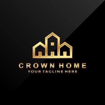 Logo design crown home. logo di lusso