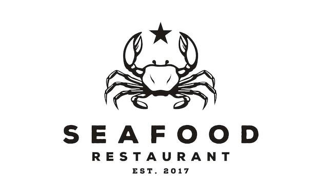 Logo design di granchio di frutti di mare