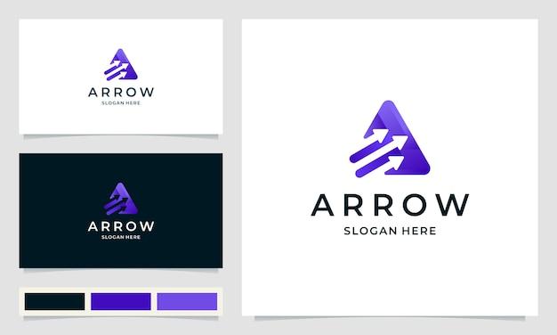 Logo design di ispirazione per agenzia di avvio con il concetto di freccia
