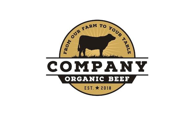 Logo design emblema bovino / bovino vintage