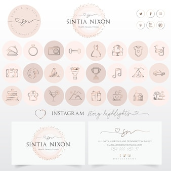 Logo design femminile e set di icone moderne