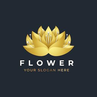 Logo design fiore di loto dorato