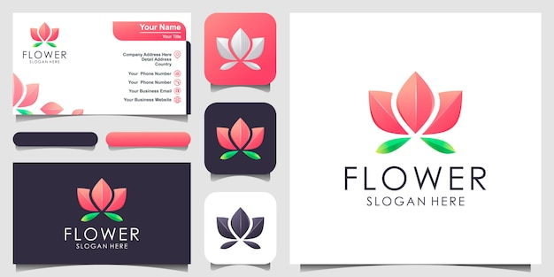 Logo design floreale. centro yoga, spa, salone di bellezza logo di lusso. logo design, icona e biglietto da visita