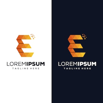 Logo design lettera e pixel