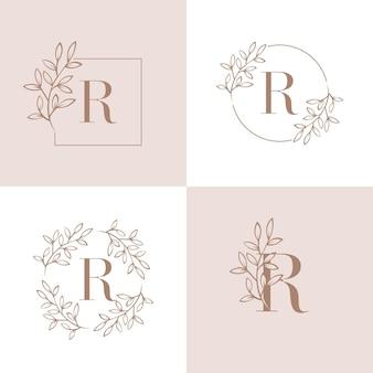 Logo design lettera r con elemento foglia di orchidea