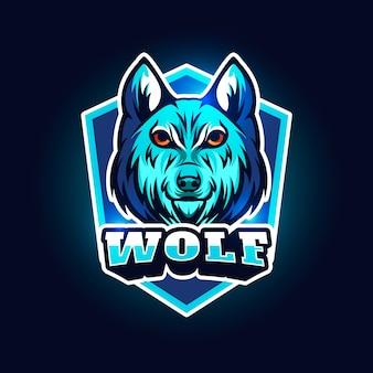 Logo design mascotte con lupo