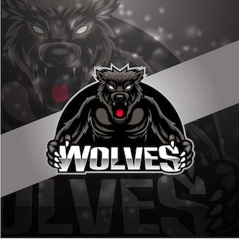 Logo design mascotte lupi esport