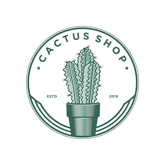 Logo design negozio di cactus. pianta