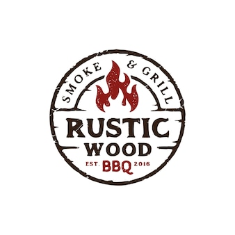 Logo design vintage rustico barbeque