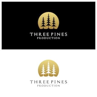 Logo di alberi di pino sempreverde dorato di lusso semplice