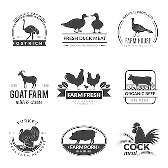 Logo di animali da fattoria. simboli di capra pecora mucca per cibo sano fresco della raccolta degli agricoltori