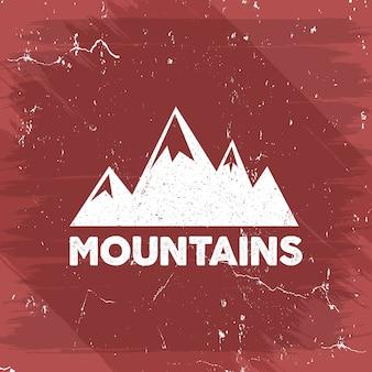 Logo di avventura all'aperto con montagne retrò.