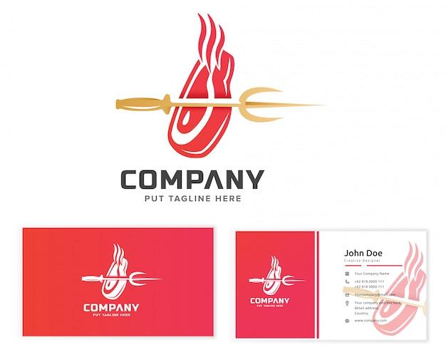 Logo di bistecca di carne con con biglietto da visita
