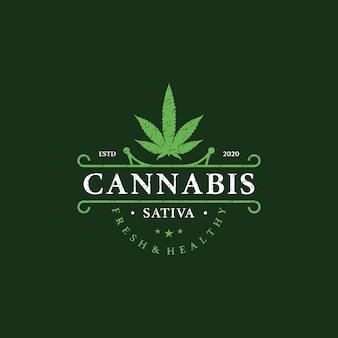Logo di cannabis medica per la salute della marijuana retrò, vintage
