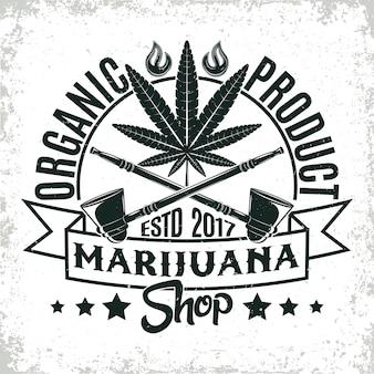 Logo di cannabis medica vintage, timbro di stampa grange, emblema di tipografia di marijuana creativa,