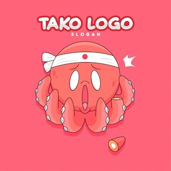 Logo di cartone animato divertente polpo rosso con sorprendente taglio viso e tentacolo di.