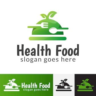 Logo di cibo sano, modello di simbolo di cibo vegano