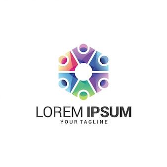 Logo di collegamento persone colorate