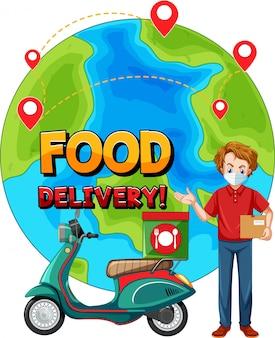 Logo di consegna cibo con bici uomo o corriere