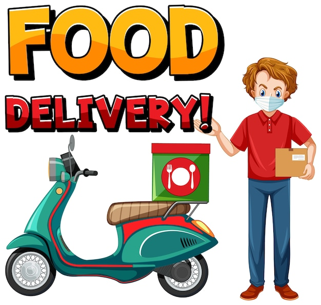 Logo di consegna cibo con uomo in bicicletta o corriere