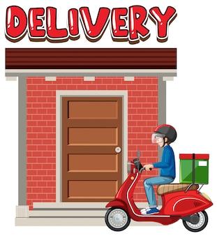 Logo di consegna con bike man o corriere