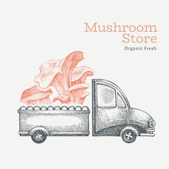 Logo di consegna del negozio di funghi. camion disegnato a mano con l'illustrazione del fungo. design vintage in stile inciso.