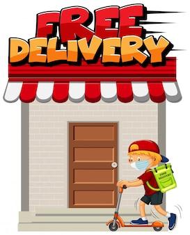 Logo di consegna gratuita con corriere in sella a scooter