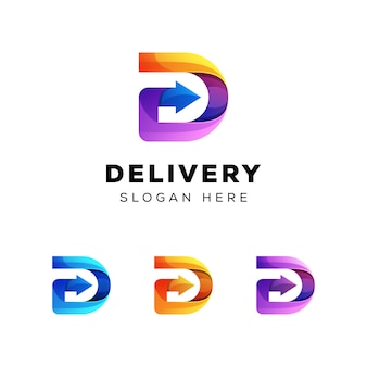 Logo di consegna, lettera d con logo freccia
