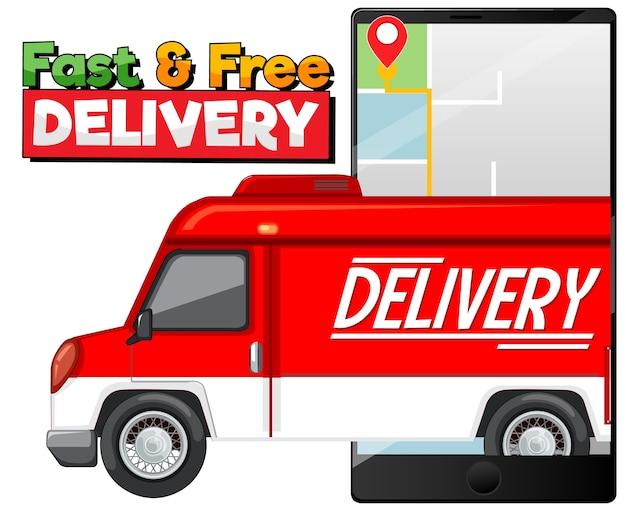 Logo di consegna veloce e gratuito con furgone o camion di consegna