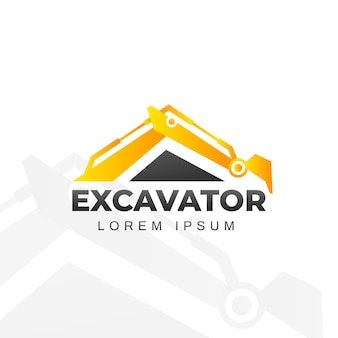 Logo di costruzione con escavatore