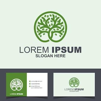 Logo di crescita verde albero cerchio