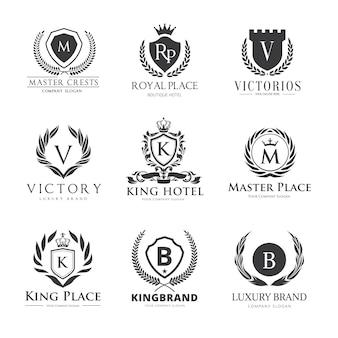 Logo di crests. design logo set di lusso per hotel, immobiliare, spa, identità di marca di moda