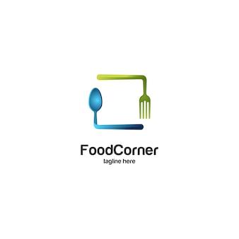 Logo di cucchiaio e forchetta d'angolo alimentare
