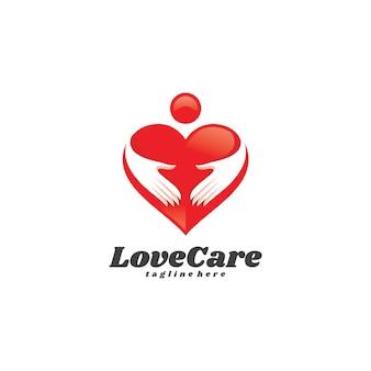 Logo di cura dell'amore della mano umana del cuore