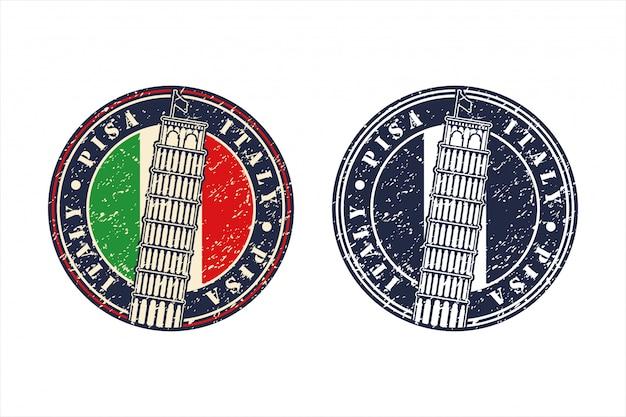 Logo di design della torre di pisa italia