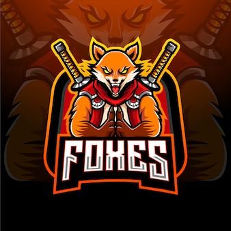 Logo di design mascotte di ninja fox esport