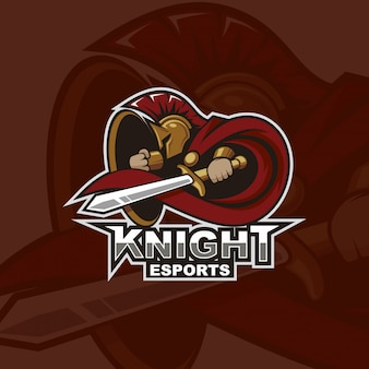 Logo di e-sport della mascotte del cavaliere