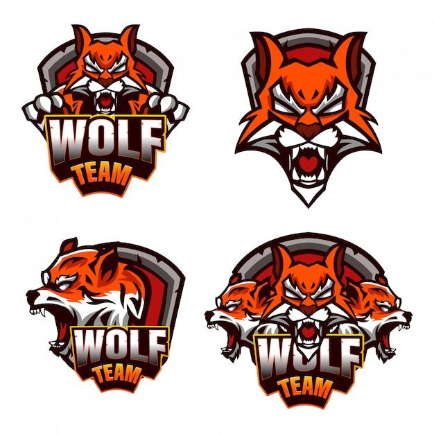 Logo di emblema di lupo esports