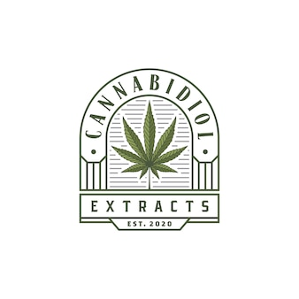 Logo di foglia di canapa di marijuana di cannabis di lusso vintage cbd