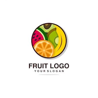 Logo di frutta con modello di design dall'aspetto fresco, banana, arancia, frutta, fresca, salute, marca, azienda,