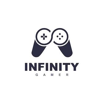 Logo di gioco con joystick infinity