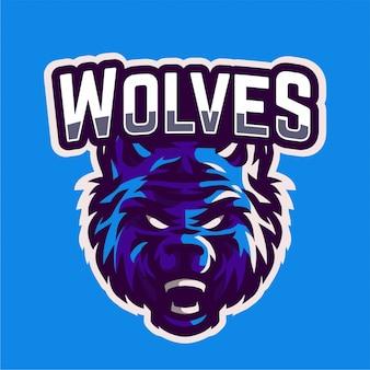 Logo di gioco della mascotte dei lupi arrabbiati