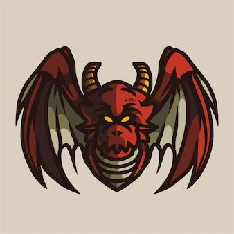 Logo di gioco della mascotte del drago marrone