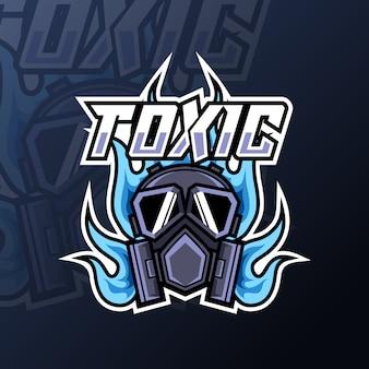 Logo di gioco della mascotte del fuoco della maschera tossica per la squadra della squadra di club