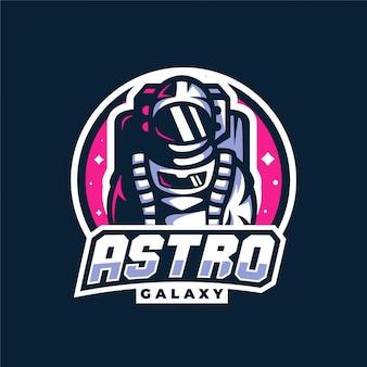 Logo di gioco della mascotte della galassia spaziale astronauta